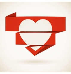 Heart on a folded paper vector image