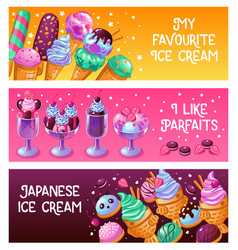 Ice cream banners vector