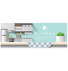 interior design with table top and modern kitchen vector image