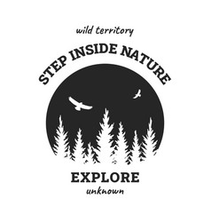 journey into wild badge t-shirt design vector image