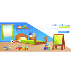 kid boy room interior design banner vector image