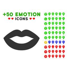 lips smile icon with bonus mood set vector image