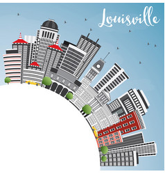 Louisville skyline with gray buildings blue sky vector