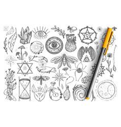 Magic and occult symbols doodle set vector