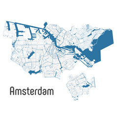 Map amsterdam city within administrative vector