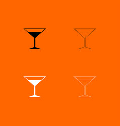 martini glass black and white set icon vector image vector image