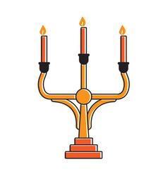 Medieval candelabrum or candelabra candle holder vector