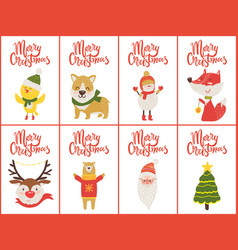 merry christmas set banners vector image