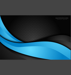 modern blue and black contrast corporate waves vector image