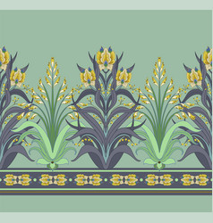 Modern border with floral art deco elements vector