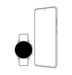 modern outline gadgets wristwatch and smartphone vector image