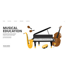 Musical school landing page musical vector