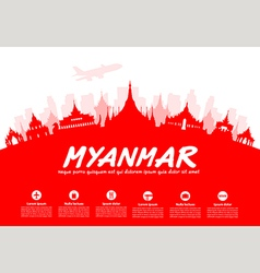 Myanmar Travel Landmarks vector