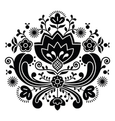 Norwegian folk art Bunad black pattern vector