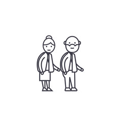 old couple line icon sign on vector image