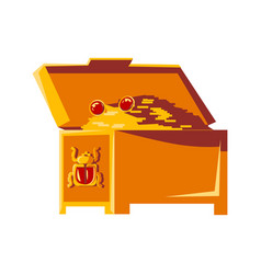 open vintage chest with gold coins cartoon vector image