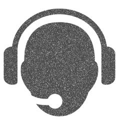 Operator Head Grainy Texture Icon vector image