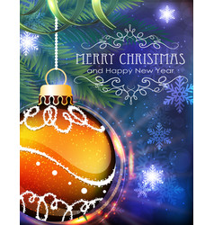 orange christmas ball with fir branches and tinsel vector image
