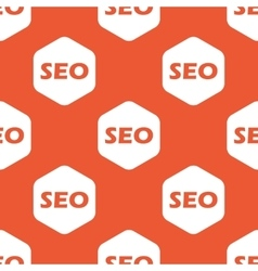Orange hexagon SEO pattern vector image