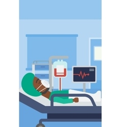 Patient lying in hospital bed with heart monitor vector