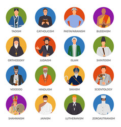 People from world religions flat avatars vector