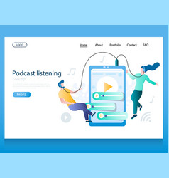 podcast listening website landing page vector image