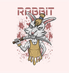 rabbit sword vector image