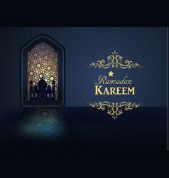 Ramadan background mosque window vector