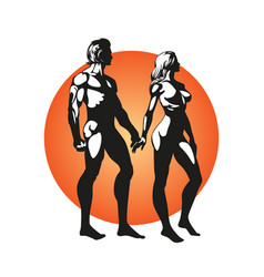 romantic concept couple in love male and female vector image