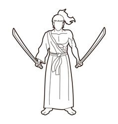 samurai warrior standing with swords cartoon vector image