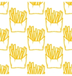 Seamless pattern of boxes of French fries vector image