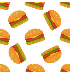 seamless pattern with burger on white background vector image