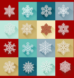 set of simple bright snowflakes vector image