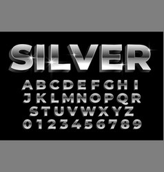 Shiny silver alphabets and numbers set text vector