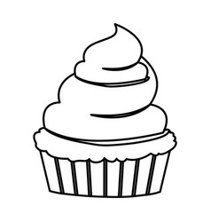 Sketch contour of hand drawing cupcake with and vector