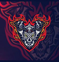 skull fire sport esport gaming mascot logo vector image