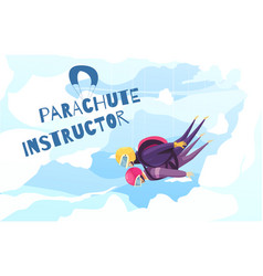 Skydiving instructor abstract poster vector