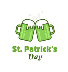 st patricks day greeting beer icon two vector image