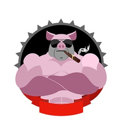 Strong pig in glasses and with a cigar logo for vector