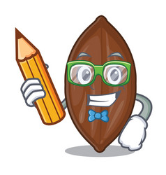 Student with book character pecan nuts in wood vector