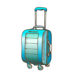 suitcase on wheels with handle color vector image