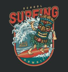 Surfing club vintage colorful design vector