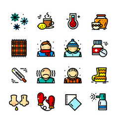 Thin line colds icons set vector