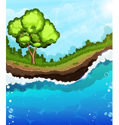 Tree on the riverbank vector