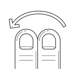Two-finger swipe left line icon vector