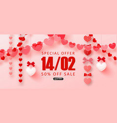 valentine s day sale backgroundromantic vector image