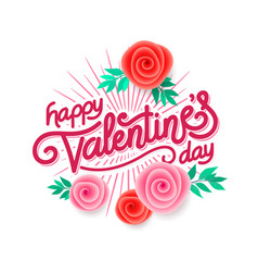 valentines day hand made lettering with burst rays vector image