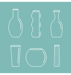 Vase outline icon set Ceramic Pottery Glass Flower vector