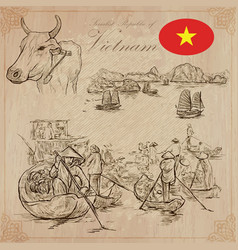 vietnam pictures of life pack hand drawings vector image