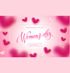 womens day sale banner with ballon heart vector image